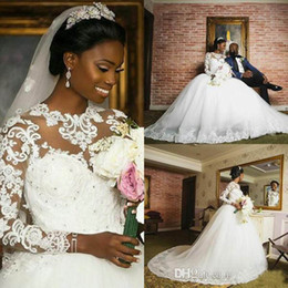 Wholesale Plus Size Ballgowns - 2018 Ballgown Wedding Dresses Jewel Long Sleeve Sweep Train A-line Bridal Gowns With Lace Applique Beads Plus Size African Wedding Gowns