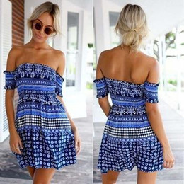 Wholesale Cheap Children S Clothes - Cheap Clothes China Nice vestido Women Summer royal blue Cute Stitching Tunic Floral Dress Sexy Off the Shoulder Slash Neck Strapless Dress