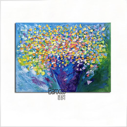 Wholesale Color Life Paint - Nice Color Flowers Hand Painted Still Life Oil Painting on Canvas Modern Home Art Wall Decoration