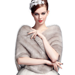 Wholesale Winter Capes For Wedding Dresses - Jane Vini Bridal Wedding Shawls and Wraps Winter Bolero Women Faux Fur Shoulder Capes Stoles for Wedding Party Dresses 2018 High Quality