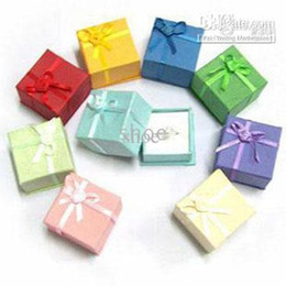 Wholesale Wholesale Cardboard Gift Boxes - Epack 48pcs jewelry box gift boxes ring box beads box size 4x4x3 cm pick 10 colors