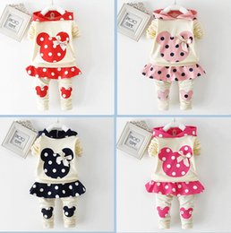 Wholesale Spring Bow Coat - Spring autumn girl hoodie+skirt pant set 2 pieces children long sleeve polka dots clothes suit 100% cotton