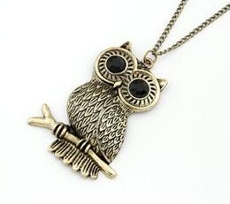 Wholesale Owl Retro Long Chain - Women Vintage Retro Bronze Metal Owl Branch Pendant Necklace Chain Sweater Long Chain Animal Necklace Wholesale 12 Pcs