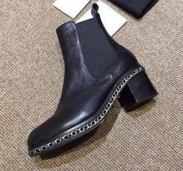 Wholesale Short Rainboots Women - runway choices! u438 34 40 genuine leather chain low heel short boots matte plain