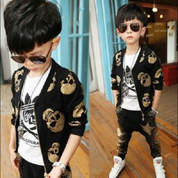 Wholesale Children Skull Pant - Baby Boys Clothing Sets 2016 Spring CrossBones Printed Fashion Skull Heads Zipper Coat+Star Sequins Harem Pants Autumn Child Outfits