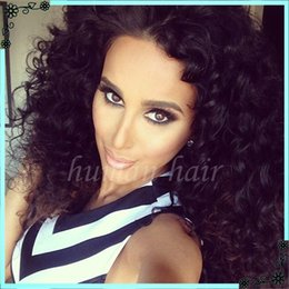 Wholesale Celebrity Half Wigs - Natural Part Human hair lace front wigs black women celebrity full lace wigs Indian curly full lace wigs