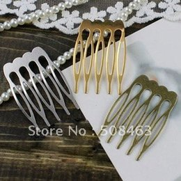 Wholesale Large Nose Studs - Ship Free ! 100pcs gold tone LARGE hair comb findings 23x25mm