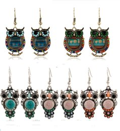 Wholesale Hottest Wholesale Items - 2016 Bohemian Colorful Owl Crystal Rhinestones Allergy Free Fish Hooks Earrings Dangles Chandelier Jewelry Blue Red Hot sell Items