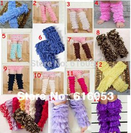 Wholesale Lace Ruffle Leggings For Girls - Wholesale-Baby Girls Fashion Multi Color Plain Ruffle Lace Leg Warmers 12Pairs(14 Colors for Choice) Lot