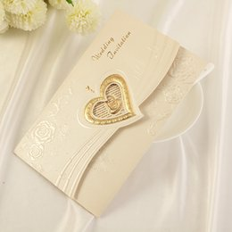 Wholesale Invitation Card Stock - Lace Laser Cut Wedding Invitations Cards 2016 Gold Blank Inner Sheet Flower Hollow Free Envelope Free Shipping High Quality In Stock ZYY