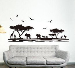 Wholesale self sat - Personality Design Black Fashion Africa Animals Wall Stickers Background Fashion Bar Glass Sitting Room Home Decor