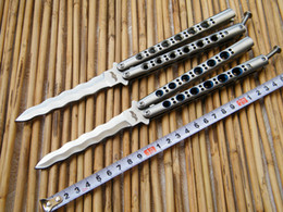 Wholesale THE ONE Kris Blade Butterfly knife BM49 Balisong Flipper knife snake Blade Die cast stainless steel handle with nylon sheath