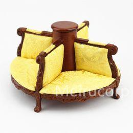 Wholesale Furniture Carvings - Wholesale- fine Dollshouse 1 12 scale miniature furniture WN colour Wood carving Round Fabric sofa