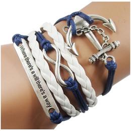 Wholesale Nautical Friendship Bracelet - Wholesale-Nautical anchor rope bracelets, infinity leather bracelets, blue leather rope woven inspirational friendship bracelet Jewelry