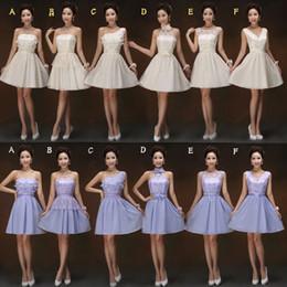 2015 Nuevo vestido corto de dama de honor Violet champagne Sin tirantes de encaje gasa vestidos de dama de honor desde fabricantes
