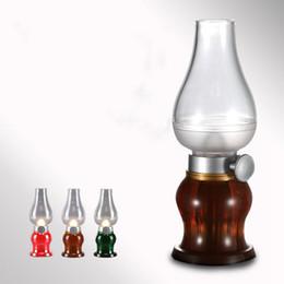 Wholesale Blow Led Candles - Super Cool Desk Led Candle Vintage Led Blow Night Light Kerosene Style Table 0 .3w Adjustable Brightness Lighting Usb Recharge