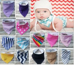Wholesale Infant Feeding Cloth - 30 Style Baby Bandana Scarf Bibs Feeding Triangle Cotton Kids Head Scarf Infant Bibs Burp Cloth Two Side Various Pattern Printed Wraps KB202