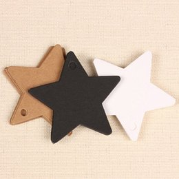 """Wholesale Clothes Cards Price Tags - 300Pcs   Lot 6*6cm (2.4*2.4"""") DIY Kraft Paper Wedding Party Gift Tag Card Star-shaped Blank Tags Luggage Label Clothing Price Hang Tag"""