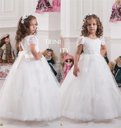 Wholesale Cheap Toddler Girls Skirts - 2016 Cheap Cute Lace Bordice Flower Girls Dresses Sheer Crew Neck A Line Cap Sleeves Appliques Tutu Tulle Skirt Princess Bow Toddlers Gowns