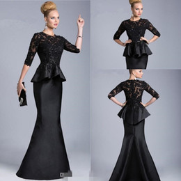 Wholesale Dresses Formales - Vintage 2016 Black mother of the bride Sheer Half Long Sleeves Lace Beaded Peplum Sheath Formal Dresses Evening Gowns Vestido Formales