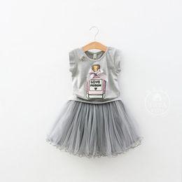 Wholesale Girls Bottle Dress - Girls dress sets Summer Kids Sets Children Bow Perfume bottles Short Sleeve T-shirts Tops +gauze Short Skirt children clothing C001
