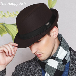 Wholesale Black Felt Hat Wool - Wholesale-vintage fedora hat black fedora hats for men wool felt hat mens hats fedoras
