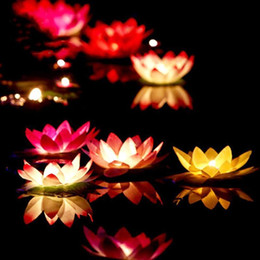 Wholesale Wedding Floating - Free Shipping Artificial LED Floating Lotus Flower Candle Lamp With Colorful Changed Lights For Wedding Party Decorations Supplies