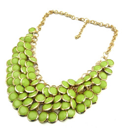 Wholesale Statement Necklace Metal Bib - New charm Gold Tone Metal Multi Layers Resin Gem Round Pieces tassel Bib Statement Necklace 6pcs lot