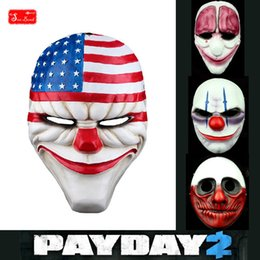 Wholesale Costume Gun - Wholesale-Payday2 resin mask for wargame BB gun protect Halloween cosplay face mask 4 type Dallas, Chains, Hoxton, Wolf