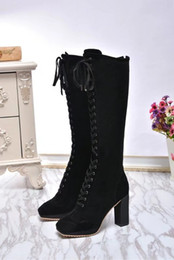 Wholesale Ladies Suede Lace Up Boots - Fashion Womens High Heel 9CM Autumn Winter Boot Cowkin Leather Ladies Black Boots Lace-Up Size 35-39