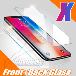 Wholesale iphone back film protector - For IPhone X 10 8 Plus Top Quality Front and Back Rear Tempered Glass Screen Protector Protective Film With Package