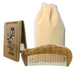 Wholesale Travel Brush Mirror - Women Hair Comb Travel Mirror Lady Makeup Kit No Static Wood Hair Comb with Bag