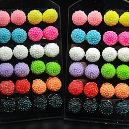 Wholesale Earring Stands Displays - 48pcs Stainless steel Mix Color 10m Acrylic Resin Flower Stud Earrings +Display Stand for Women Mens Wholesale Lots C512