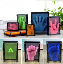 Wholesale Plastic Pin Art - DIY Hand Mold Clone Fingerprint Shape Pin Art Needle Plastic Colorful Toys Funny Jokes Toys 3D Anti stress Clone Fingerprint Needle KKA3187