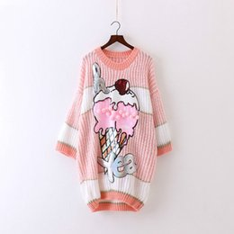 Wholesale Pink Sequin Sweater - 2017 Autumn Winter New Women Knitted Sweater Dresses Mori Girl Sweet Pink Ice Cream Sequins Loose Large Size Cute Casual Dress