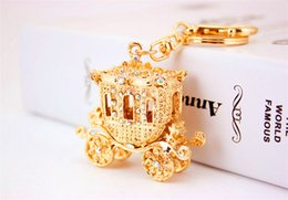 Wholesale Carriage Key Rings - Fairy Tale Carriage Pumpkin Key Chains Rings AB Rhinestone Purse Bag Buckle Pendant For Car Keyrings KeyChains K297