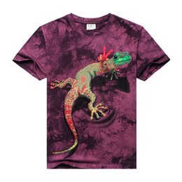 Wholesale Tie Dye Shirts For Men - 3D Tie-Dye Printed Lizard Short Sleeves T-Shirt For Men 100% Cotton Personality Colorful Pattern Casual Tshirt Animal tshirt HJC3DTX074