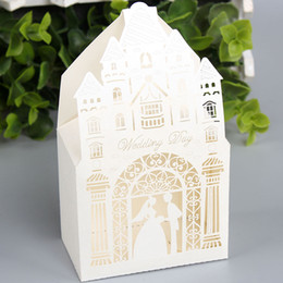 Wholesale Castle Case - 100pcs lot Castle Hollow Out Candy Boxes Fancy Church Design Gift Case Wedding Engagement Events Sweetbox Favors wc156