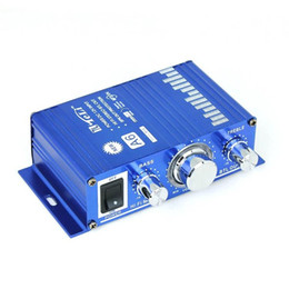 Wholesale 12v Mini Amplifier Motorcycle - NEW 12V DC Mini Hi Fi Music Audio Stereo Amplifier A6 for Car Motorcycle Boat Home MP3 CD Usage Newest