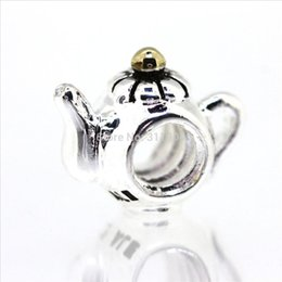 Wholesale Teapot Charm Bead - Teapot shape high discount 925 Sterling Silver European Screw Bead Charm handcrafted best Gift Jewelry Snake pandora Bracelet Chain 1pcs up