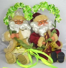 Wholesale Christmas Santa Figurines - 2014 New-arrival Hot-selling Static Sitting Christmas Velvet Clothes Santa Claus Figurine Indoor decorations Beoge Red Available