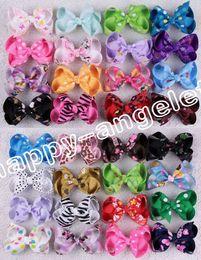 "Wholesale Flower Bows Alligator Clip - 100pcs Frozen Print love Minnie snow white cartoon ribbon 2.5"" hair bow flower Alligator Clip boutique girl hairpin hair accessories HD3378"