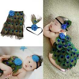 Wholesale Baby Shower Hats - Newborn baby photography props infant knit crochet costume peacock photo prop costume headband hat clothes set baby shower gift