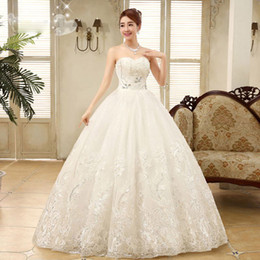 Wholesale Korean Ball Gowns - 2015 New Arrival slim fit Fashion girl Princess Korean Style Word Shoulder Princess Lace Backless Bride Wedding Dress with Crystal