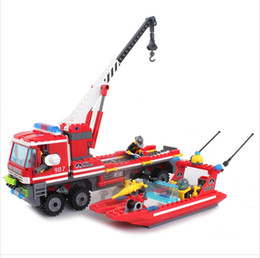 Wholesale Boat Building Construction - Enlighten Fire Rescue Fire Boat Building Blocks Construction Assembling Blocks Hot Toy for Boy Gift