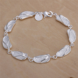Wholesale 925 Sterling Silver Bracelets Prices - Low price 925 sterling silver charm bracelets slippers Pretty cute fashion jewelry birthday gift free shipping