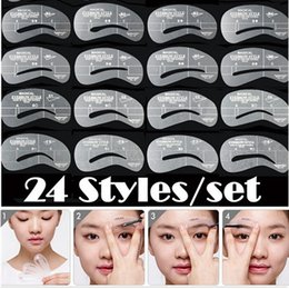 Wholesale Pro Grooming - New Pro 24 Styles Grooming Stencil Kit Makeup Shaping DIY Beauty Eyebrow Template Stencils Tools Makeup Accessories MU01