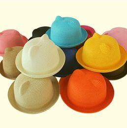 Wholesale Womens Cat Hat - Wholesale-HOT New Womens Fashion Cut Cat Ears Cloche Straw Sun Cap Hat 10 Colors K624