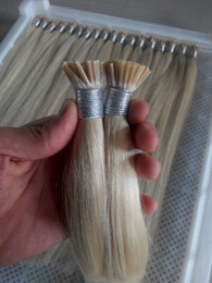 Wholesale Lightest Natural Blonde - Hot Sale 18 20 22 24inches Natural Hair Prebonded I Tip Stick Tip INDIAN REMY Hair 1g s 100s pc #613 Lightest Blonde