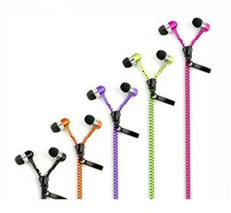 Wholesale Phone Wire Connectors - Multi Color Zipper Earphone 3.5mm Connector In-Ear Wired Stereo Bass Headphones Remote&Mic Headset For IPHONE Samsung For all phones